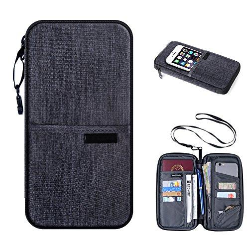 RFID Passport Holder Travel Wallet  Luxsure Water Resistant Ticket Card Bag Organizer (Gray)