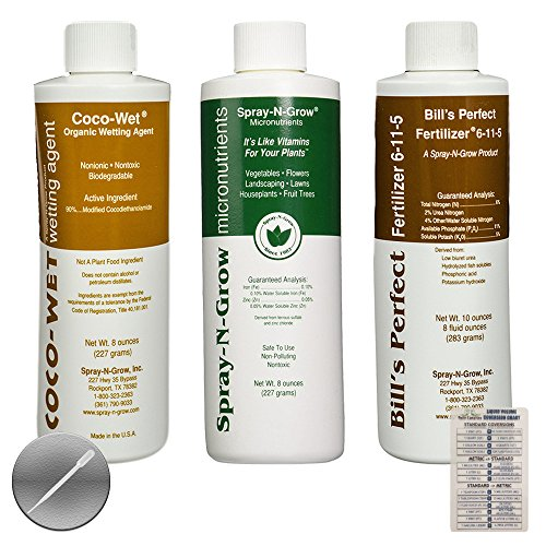 Coco-Wet Organic Wetting Agent, Spray-N-Grow Micronutrients & Bill