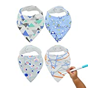 Baby Bandana Bibs,Beechtree Baby 4 Pack Soft and Absorbent,Hypoallergenic,100% Natural Cotton,with Snaps for Drooling and Teething, Unisex Baby Gift Set for Boys and Girls(A-Mazing-Eater)