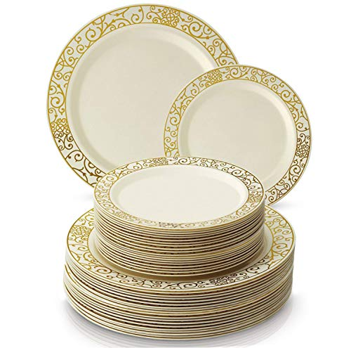 PARTY DISPOSABLE 40 PC DINNERWARE SET | 20 Dinner Plates | 20 Salad plates | Heavy Duty Dishes | Elegant Fine China Look | Upscale Wedding and Dining (Venetian Collection- Gold) (Elegant Centerpieces Tables For)