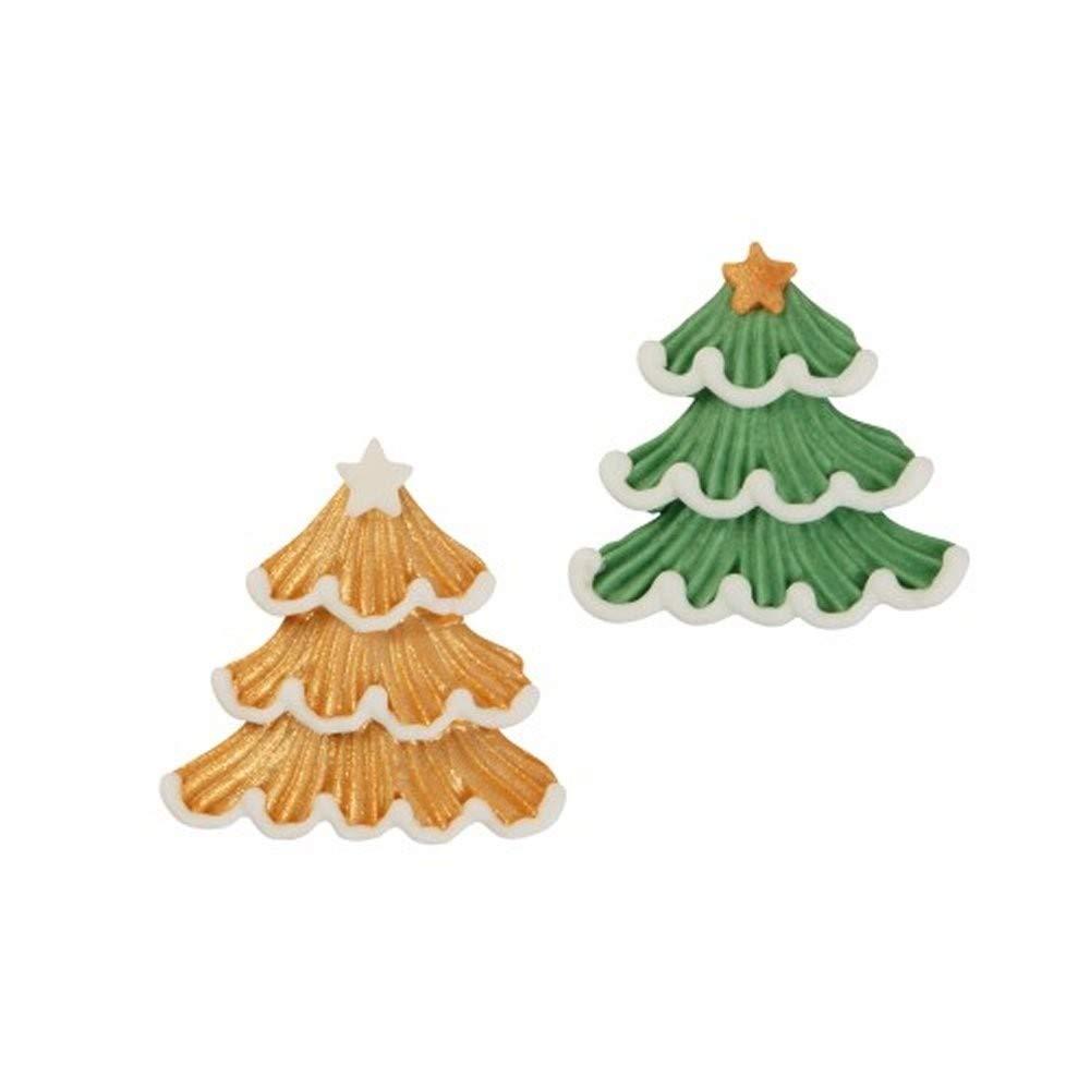 Gü nthart - Set 2 Alberi Di Natale Piatti In Zucchero Oro E Verde Günthart