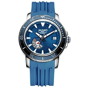 JIUSKO Mens 24 Jewel Automatic Deep Dive Watch - 300m Scuba - Sapphire - Day Date - Blue Dial - Blue Rubber Strap - 75LSB08