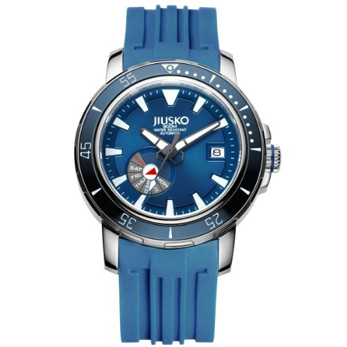 Day Date Automatic Titanium Watch - Jiusko Mens 24 Jewel Automatic Deep Dive Watch - 300m Scuba - Sapphire - Day Date - Blue Dial - Blue Rubber Strap - 75LSB08