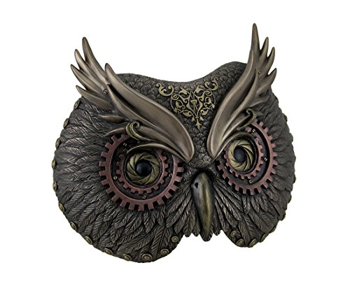 Resin Decorative Plaques Metallic Bronze Steampunk Owl Head Wall Mask 8.5 X 6.75 X 3.5 Inches Bronze For Sale