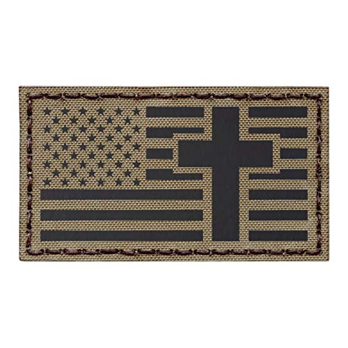 IR Tan 2x3.5 USA Flag Christian Cross Jesus Christ Coyote Brown Crucifix Religion God Infrared Tactical Morale Fastener Patch