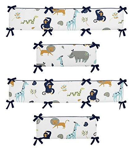 Sweet Jojo Designs Turquoise and Navy Blue Safari Animal Baby Crib Bumper Pad for Mod Jungle Collection (Blue Baby Jungle)