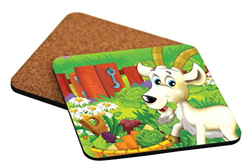 (Rikki Knight Cute Billy Goat Cartoon with Farm Vegetables Design Cork Backed Hard Square Beer Coasters, 4-Inch, Brown, 2-Pack)