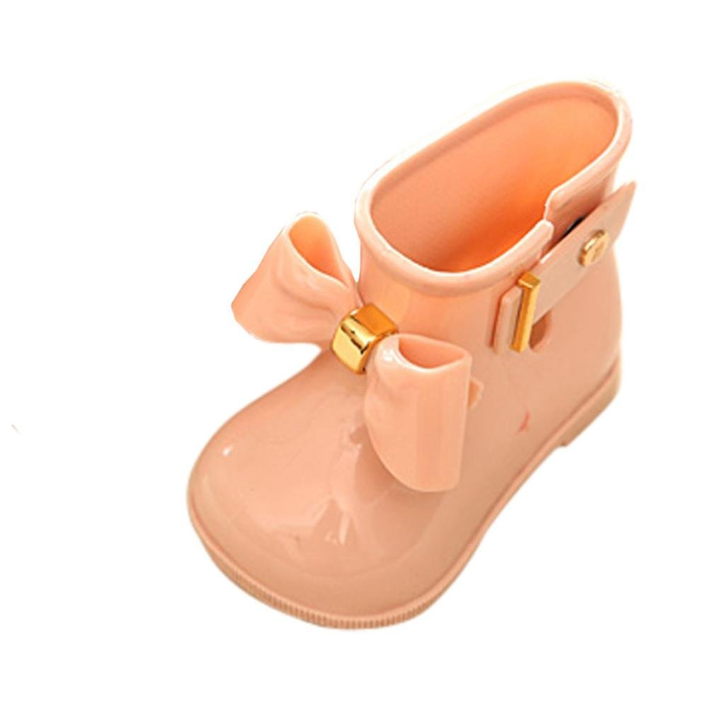 Dacawin Summer Baby Girls Cute Rubber Jelly Shoes Children Bowknot Rain Boot Anti-Slip Rainshoes (US Size:7, Pink)