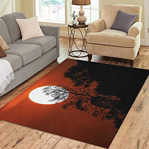 Pinbeam Area Rug Halloween Silhouette Trees on Mountain in Spooky Sunset Home Decor Floor Rug 5' x 7' Carpet