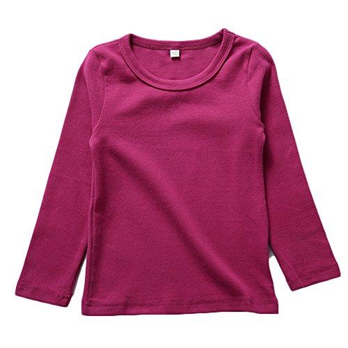 KISBINI Toddler Girls Long Sleeve Cotton Tees Kids T-Shirt Tops Rose Red 1T