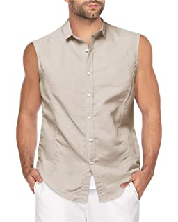 Mens Fashion Sleeveless Linen Shirt Casual Button Down Slim Fit Top Cotton Vest