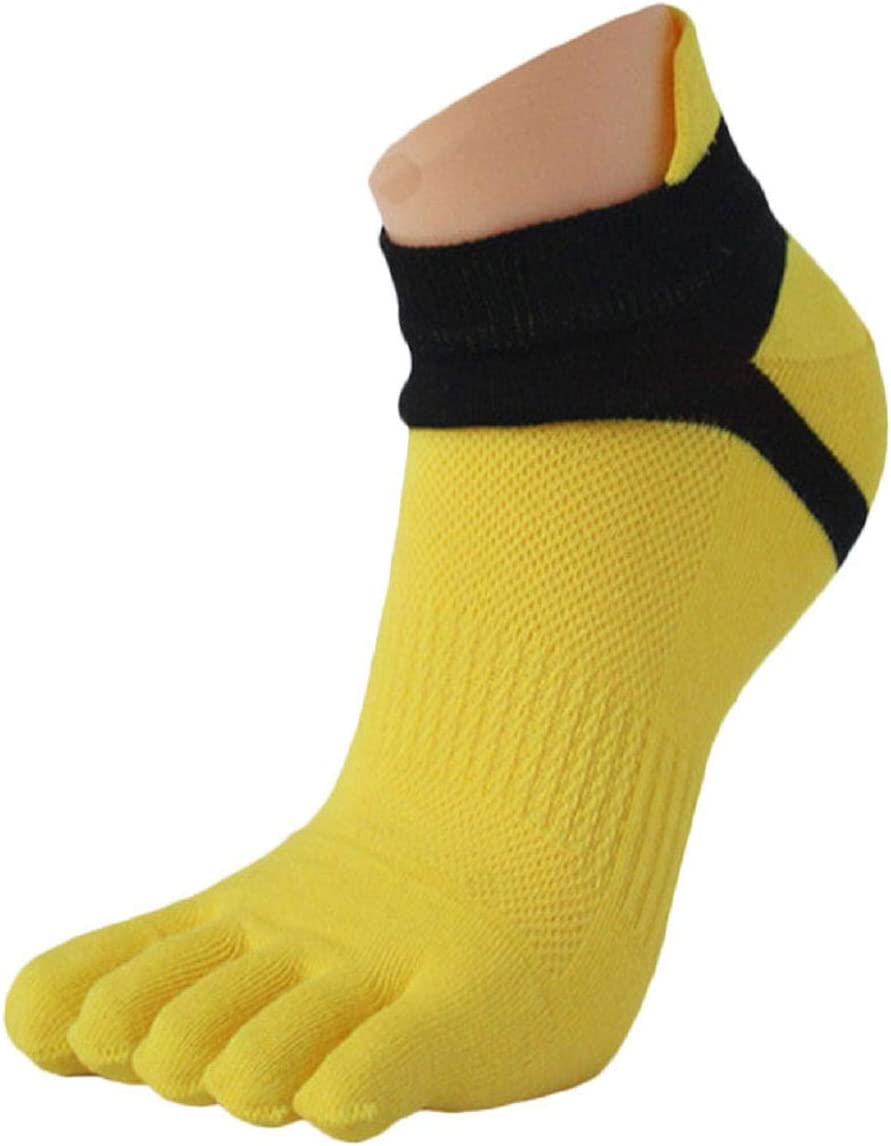 Vacally 1 Pair Men Mesh Running Five Finger Toe Socks Outdoor Sports Casual Low Cut No Show Short Socks
