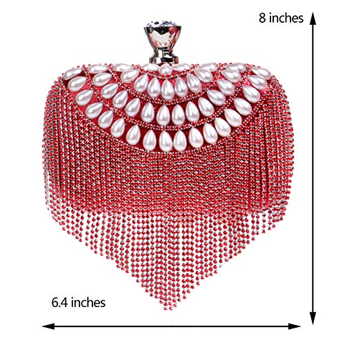 Dress Bags Purse Bags Clutch Wallet Wedding Evening Ladies Womens Outfit Chain Red Pearls Bead EwxYBrpqwT