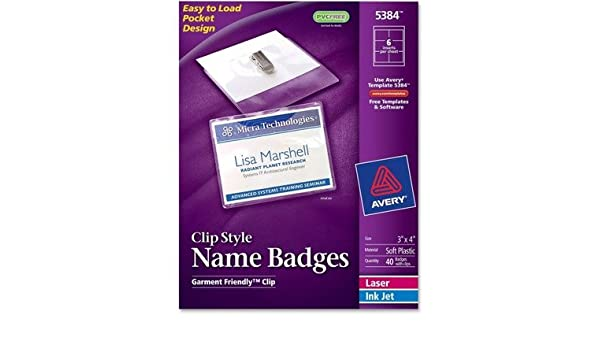 amazon com ave5384 avery badge holder kit w laser inkjet insert