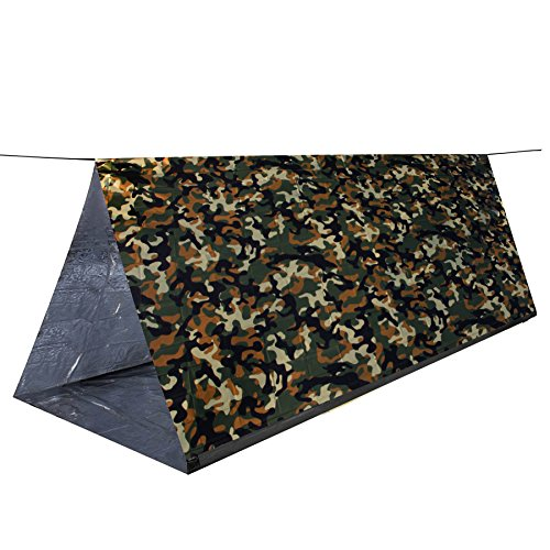 MYLATECH SURVIVAL XL Emergency Tube Tent (3 color styles) | Bivvy Convertible For Maximum Heat Retention | Our Thermal Mylar is 95% + Heat Reflective and Tested By Service Members | … (CAMO) (Tube Survival Tent)