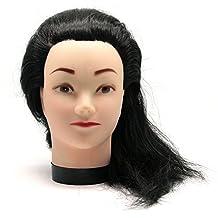 So Beauty Fake Hair Manikin Head Model for Hair Styling HairDressing Salon Practice Training Black Hair and Flesh Color