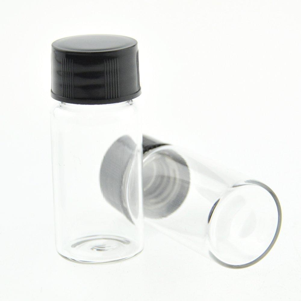 12/pcs 7,6/cm 30/ml Effacer bouteilles en verre de conservation /échantillon Cosm/étique /à herbes /épices Specimen fioles avec ph/énolique Noir /à visser caches