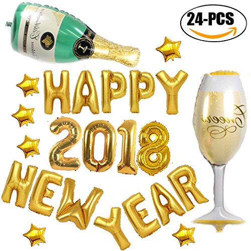 2018 Balloons, Coxeer 2018 Happy New Year Mylar Balloons Foil Balloons with Star Champagne Bottle Cup Pattern Balloons (Champagne)