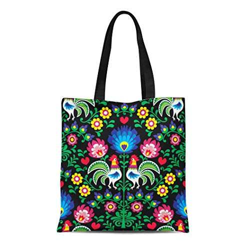 Semtomn Canvas Tote Bag Colorful Polish Folk Pattern Roosters Wzory Lowickie Wycinanka Green Durable Reusable Shopping Shoulder Grocery Bag