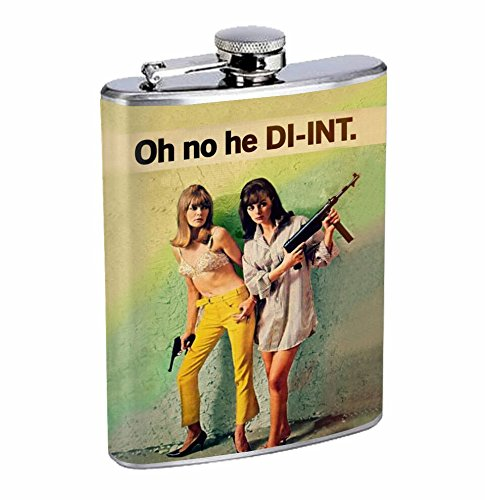 70s Era Chick Hip Flask Stainless Steel 8 Oz Silver Drinking Whiskey Spirits R1