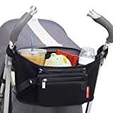 Skip Hop Grab and Go Attachable Neoprene Stroller Organizer and Cup Holder with Detachable Wristlet, Universal Fit, Black