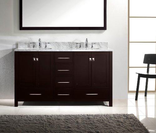 Virtu USA GD-50060-WMSQ-ES Caroline Avenue 60-Inch Bathroom Vanity with Double Square Sinks in Espresso and Italian Carrara White Marble