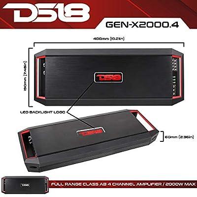 DS18 GEN-X2000.4D Full Range Bridgeable 4-Channel 2000w Peak/180w x 4 RMS @ 2 Ohm CEA Compliant 2, 4 Ohm Stable Class A/B Mono Car Amplifier with Remote Subwoofer Control