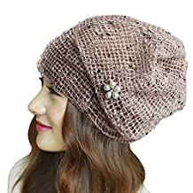 Womens Girls Summer Autumn Skullies Thin Scarf Slouch Beanie Hats for Ponytail