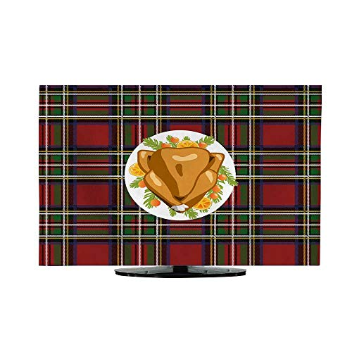 """Price comparison product image TV Dustproof Cover ClothRoasted Turkey Bird on Oval Plate with fir Tree Branches and Orange Slices Decoration on Tartan Plaid Festive Tablecloth Top View Thanksgiving or Christmas Holiday 47""""/48"""""""