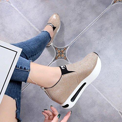 Basse Oro Stringate Platform con da a Spesso Casual Lacci Sport Senza Donne Corsa On Slip Casuale Outdoor Piattaforma Scarpe Scarpe SOMESUN Stivaletti Fondo Piatto Shoes Offerta qwgvxp4nB