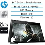"Newest HP Pavilion x360 2in1 Convertible 14"" HD Touchscreen Laptop, 10th Gen Intel Core i3-1005G1(Up to 3.4GHz, Beat i5-7200U), 8GB RAM, 128GB SSD, Webcam, HDMI, Windows 10, w/Masdrow Accessories"