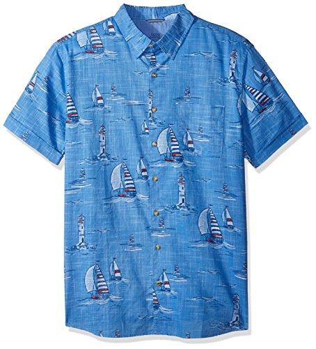 IZOD Men's Size Big Saltwater Breeze Print Short Sleeve Shirt, Blue Revival, 5X-Large Tall Slim (Clothing Slim Tall)