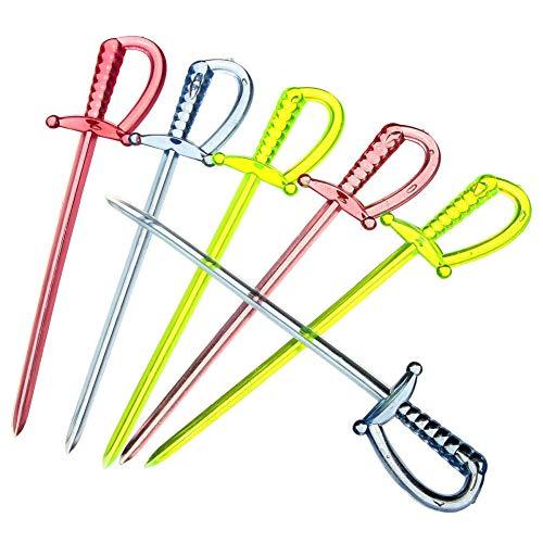 (3.35 Inch Plastic Sword Picks Food Toothpicks Fruit Fork Cocktail Sticks, Multicolor, 100 Count )