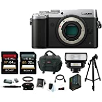 Panasonic Lumix Micro Four Thirds Digital Camera (Body Only, Silver) with LED Flash & Focus Accessory Bundle