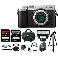 Panasonic Lumix DMC-GX8 Mirrorless Micro Four Thirds Digital Camera (Body Only, Silver) with Wireless LED Flash & Focus Accessory Bundle