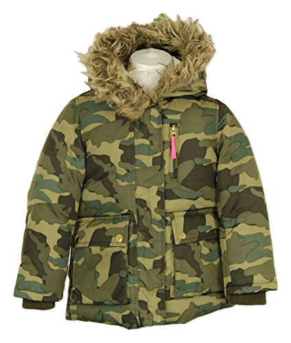 J Crew Puffer (J. Crew Crewcuts Girls Furry Hooded Puffer in Camo Sz 4/5 Style 02741 New)