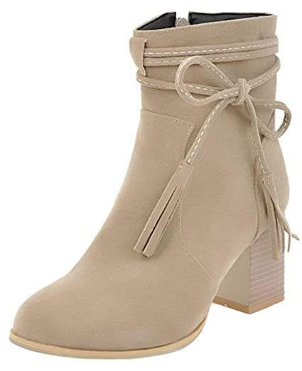 Women's Stylish Color Block Splicing Round Toe Square Toe High Chunky Heel Side Zipper Short Boots