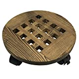 MORINN Wood Plant Stand 16 inch with Wheels, Rolling Plant Caddy Indoor and Outdoor, Pot Holder Round Planter Dolly with Casters