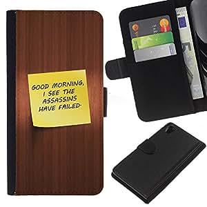 KLONGSHOP // Tirón de la caja Cartera de cuero con ranuras para tarjetas - Buenos días divertidos - Sony Xperia Z2 D6502 //