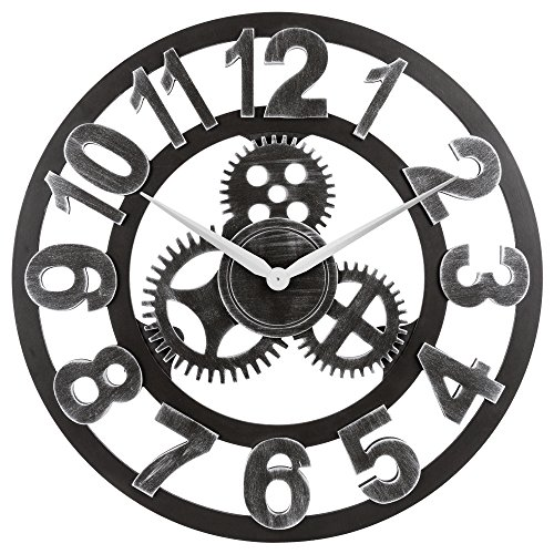 OLDTOWN Clock 3D Retro Rustic Vintage Wooden 23-Inch Noiseless Gear Wall Clock, Number-Silver Review