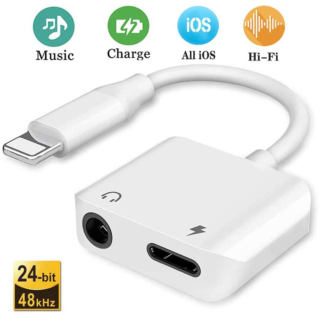 Adaptador de Auriculares para el iPhone 7 Adaptador de Jack Conector de 3.5mm Conector de Auriculares AUX Audio Adaptador de música y Cargador Cables ...