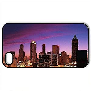Atlanta at Dusk - Case Cover for iPhone 4 and 4s (Skyscrapers Series, Watercolor style, Black)