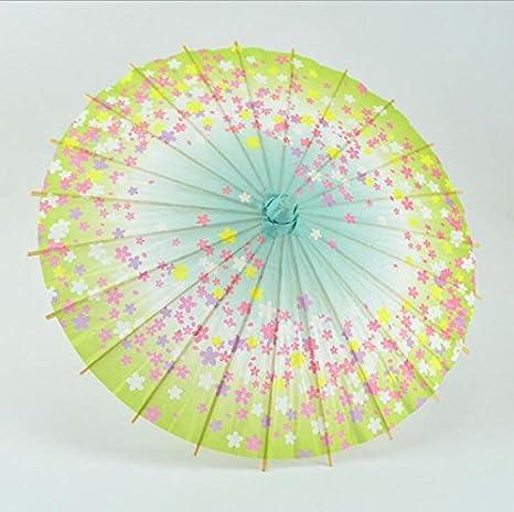 HEOLI Sombrilla de bambú Estilo Chino japonés, Paraguas Hecho a Mano de Papel Barnizado (