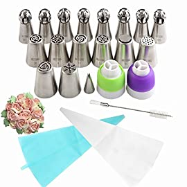 Russian Piping Tips Baking Supplies 31pcs The ONLY Cake Piping Nozzles Set with Perfect 16 Flower and Sphere Icing Tips Combo By MRTONG Cake Decoration Tips 19 ✅Great Kitchen Gift for Any Occasions - Packaged with a beautiful gift box, is suitable for any occasions, like birthday, Mother's Day, Christmas, Wedding or Anniversaries, absolutely a great and popular choice. ✅Premium Material- FDA Approved: Food grade 304 stainless steel ensures ✔Durability ✔ High Rust Resistance ✔ Smooth Edges, ✔Safe to use ✔Sate to contact with food ✔Easy to decorate various flower shapes. ✅Best Russian Piping Tips Set- Decorate like a pro! You'll have everything you need to start decorating your cakes, muffins, cupcakes and cookies with our professional cake decorating supplies. The most popular ✔8 Russian Piping Tips, ✔8 Ball Piping Tips, ✔1 Leaf Tip, ✔2 Tricolor Couplers, ✔1 Silicone Pastry Bag, ✔10 Thicken Disposable Pastry Bags, ✔1 FREE Cleaning Brush ,also ✔a Printed Chart that shows what each tip creates, designed for the baking veteran or newbie.