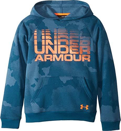 50600ea318e Galleon - Under Armour Kids Boy s Rival Wordmark Hoodie (Big Kids) Techno  Teal Magma Orange X-Large