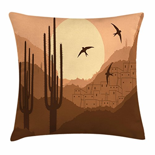 Lunarable Country Throw Pillow Cushion Cover, Wild Desert Canyon Mexican Town Sundown Hot Weather Swallow Silhouette, Decorative Square Accent Pillow Case, 24 X 24 Inches, Brown Burnt (Canyon High Country Rug)