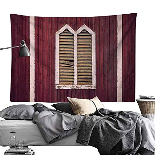 Commemorative Tapestry Shutters Decor Window Frame with Shutters on Wooden Wall Vintage Style Decorating Artwork Print Bedroom Home Decor W60 x L40 Burgundy Pink