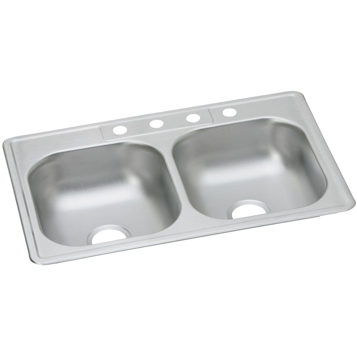 Dayton D233223 Equal Double Bowl Top Mount Stainless Steel Sink by Elkay