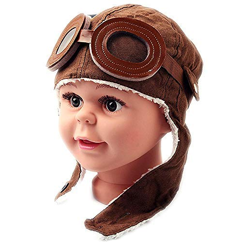 coffee HUYOO Super Cool Baby Infant Soft Warmer Winter Hat Pilot Aviator Cap for kids boys girls