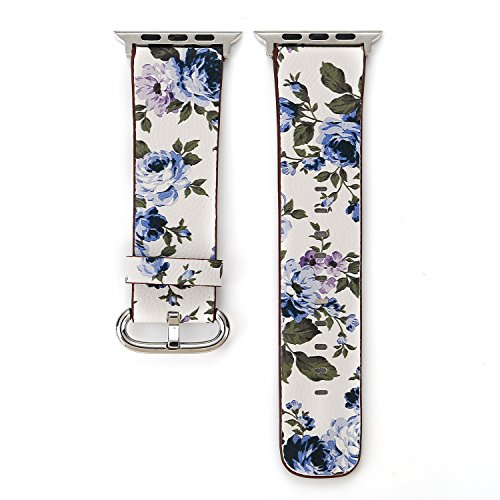 Bracelet Printed Pattern (MeShow TCSHOW 42mm Floral Pattern Printed Leather Wrist Band Apple Watch Link Bracelet for Apple Watch Series 3 2 1 Version (C))